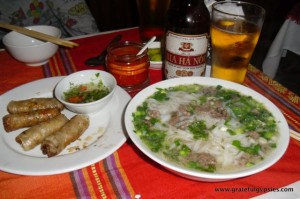 A great welcome meal in Vietnam.