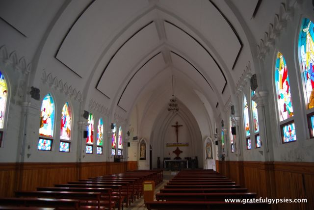 Inside of the church, which gives services every Sunday.