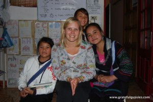 Rachel and her students for the night.