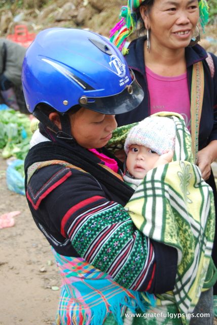 Mom and baby on the way out to the village.