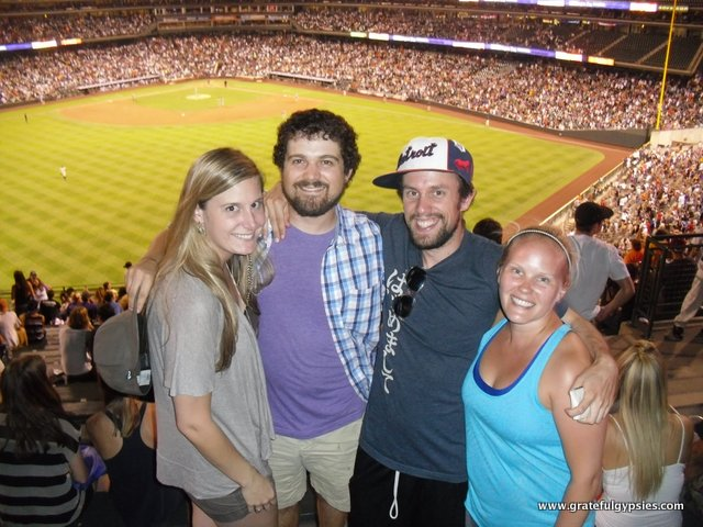 Raging a Rockies game with friends.