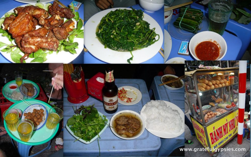 Collage of fantastic eats in Hanoi's Old Quarter.