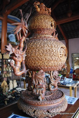 Amazingly detailed wooden sculpture.