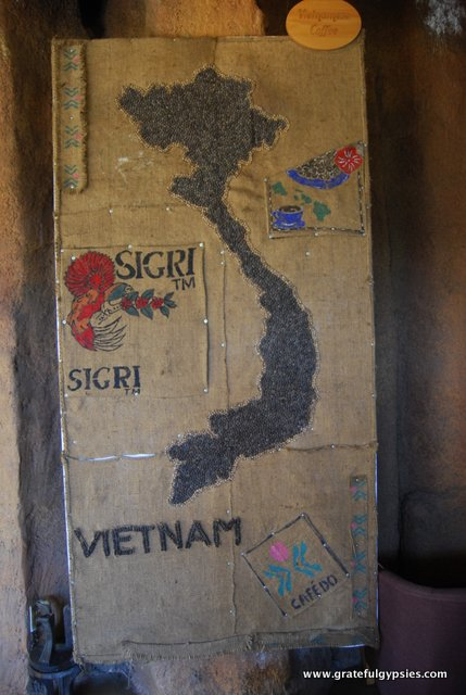 A map of Vietnam made out of coffee!
