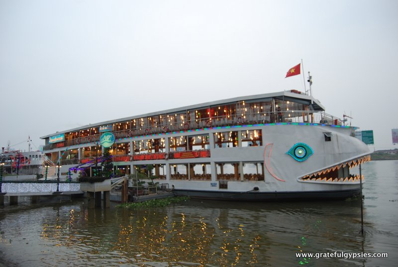 One of many boats on the Saigon River.