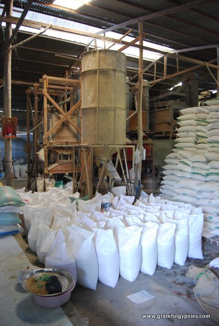 Inside of a Vietnamese rice factory.
