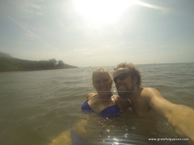 Selfie in the water! First beach of the trip!!