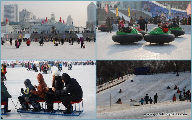 Tons of fun on the frozen Songhua River.