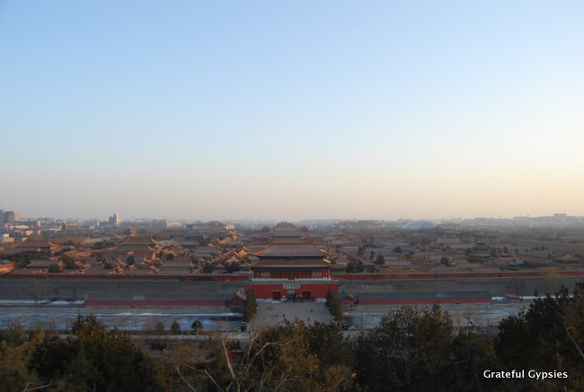 Panoramic view of the Forbidden City from atop Jingshan.