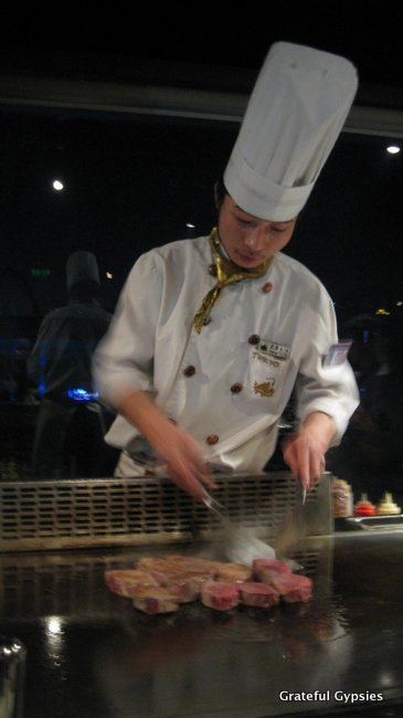 Wine and dine at a teppanyaki restaurant.