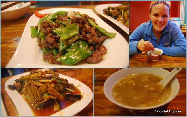 A mix of Tibetan and Chinese food/drink.