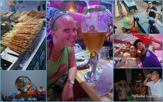 Getting sloppy at the Qingdao Beer Festival.