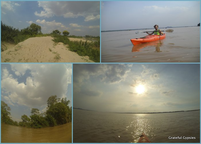 Kayaking to see the Irawaddy dolphins.