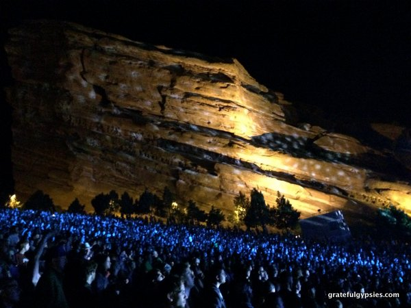 The rocks all lit up.