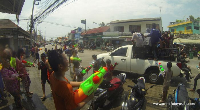 Songkran water fight