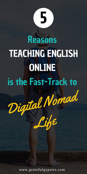 Teaching English online is the fastest way to become a digital nomad. Here are five reasons why plus a free guide to help you get started. #digitalnomad #teachenglishonline #remotework