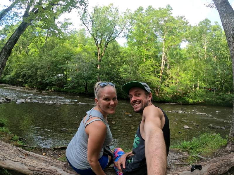 little river selfie great smoky mountains vacation